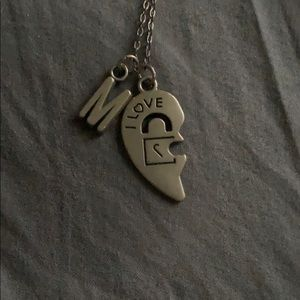 Jewelry - half heart with letter M